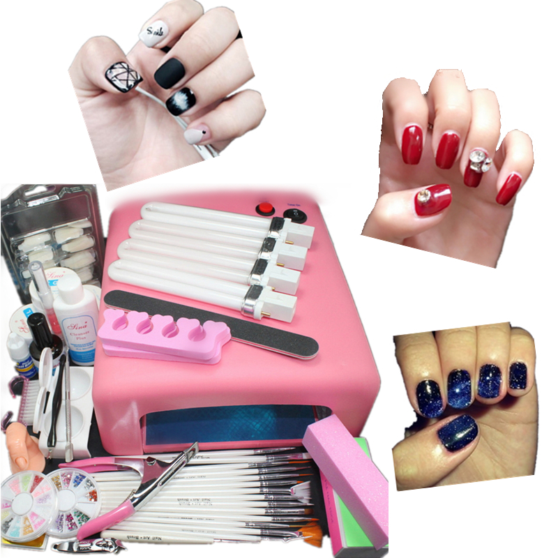 36 W Nail Sets Nail Lamp Dryer 12 Pure Colors Polish Gel Electric ...