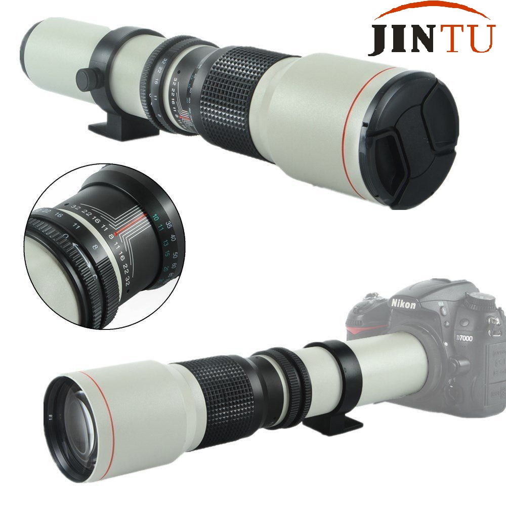 JINTU White Super 500mm f/8.0 f8 Telephoto Lens + T-Mount for NIKON D3200 D3300 D3400 D5200 D5300 D5500 D5600 D7100 D7200 Camera