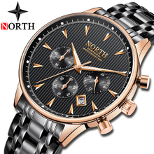 Get more info on the NORTH Mens Watches Top Brand Luxury Chronograph Quartz Watch Men Gold Waterproof Watch Fashion Business Clock Relogio Masculino