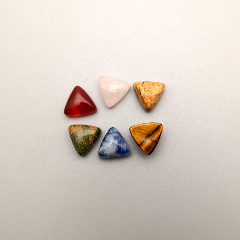 Image 3 - 2016 fashion assorted Triangle cabochon 10MM Charm natural stone beads for jewelry Accessories 50Pc/lot Free shipping No hole-in Beads from Jewelry & Accessories