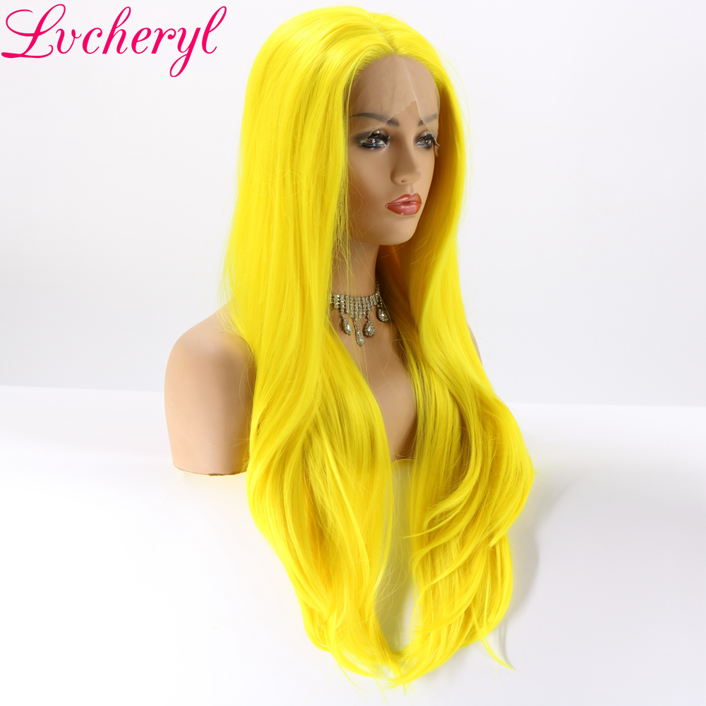 Lvcheryl Yellow Color Natural Straight Hand tied Heat Resistant Hair Synthetic Lace Front Wigs for Cosplay