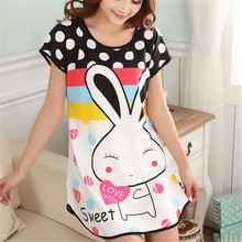 New Fashion Cartoon Women's Polka Dot Sleepwear Short Sleeve Sleepshirt nightgown Soft Women Clothing Cute Lovely Pattern Gifts