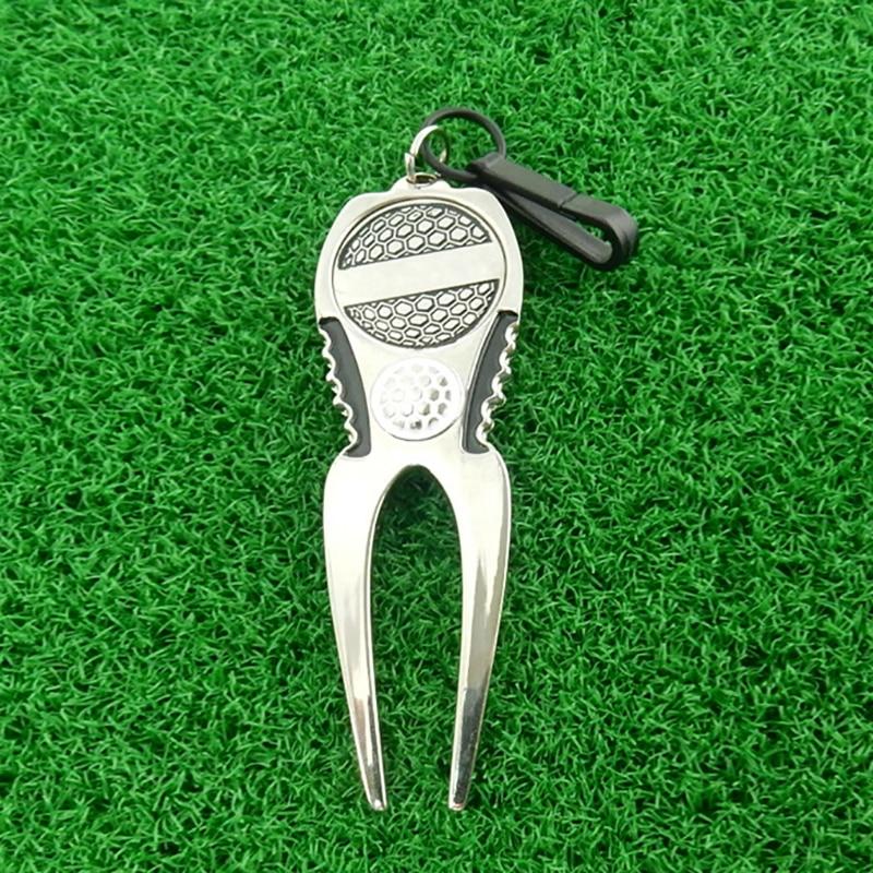 1 PCS Golf Divot Repair Tool With Golf Ball Marker Green Golf Fork Drop Ship