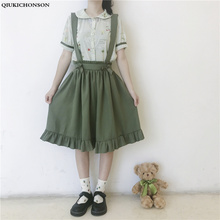 Preppy Style Bowknot Cute Suspender Skirt Women Korean Fashion Summer High Waisted Ruffles Lolita Pleated Skrits Overalls midi