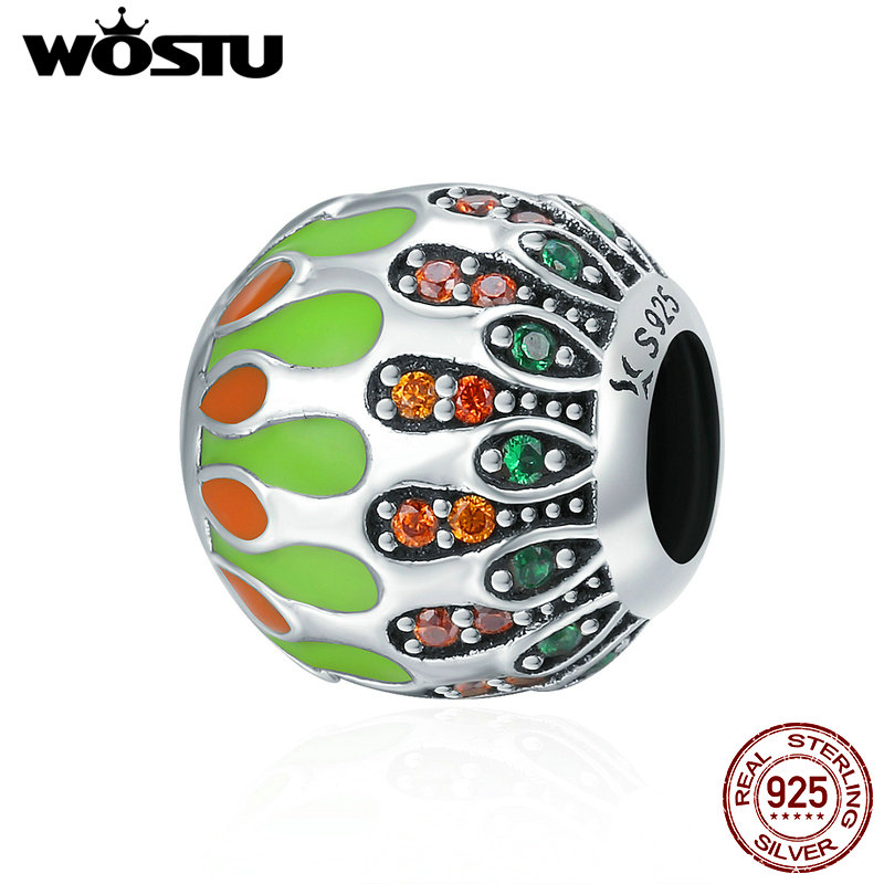 WOSTU New Trendy 925 Sterling Silver Green & Red Styles Beads fit original Charm Bracelets For Women DIY Jewelry Gift CQC269 new s925 sterling silver bell red string rope bracelets lucky beads red thread bracelets