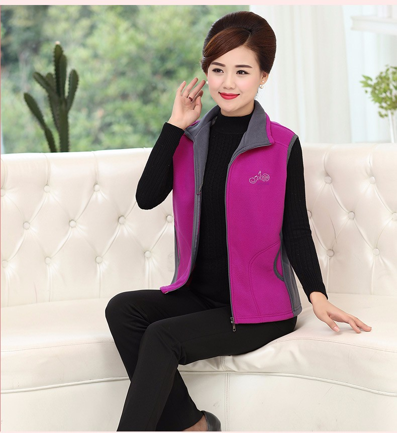 Woman Basic Fleece Vest Purple Red Color Blocking Sleeveless Jackets Middel Aged Women Warm Soft Fleeve Waistvest Zipper Herringbone Gilet (13)