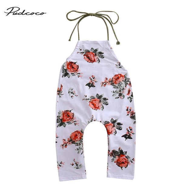 23caafca67e93 US $4.29 |0 5Y Cute Summer Toddler Baby Girl Boys Clothes Flower Halter  Romper Sleeveless Lace up Jumpsuit Sunsuit Clothing-in Rompers from Mother  & ...