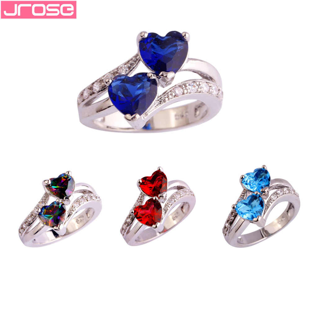 JROSE Engagement Double Heart Multicolor & White & Blue & Red Cubic Zirconia Silver Ring Size 5 6 7 8 9 10 11 12 13 For Women