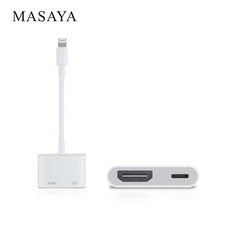 For MASAYA Lightning Digital AV HDMI Adapter 4K Cable Connector up to 1080P HD for iphone 8/8p/5/6/6s/7/7P/Ipad Air/Ipod yatour car digital music cd changer aux mp3 sd usb adapter 17pin connector for bmw motorrad k1200lt r1200lt 1997 2004 radios