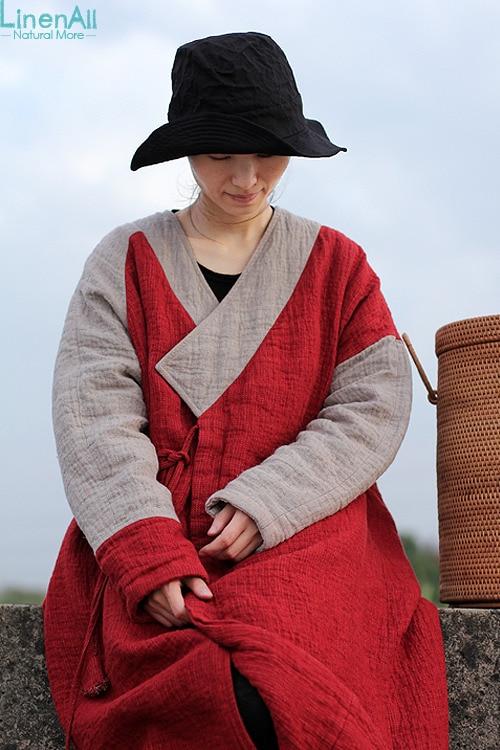LinenAll women's parkas, thickening kanaff deep V-neck linen button strap loose thermal wadded jacket outerwear yijiu