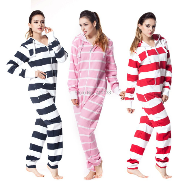 db050464 Striped one piece jumpsuit all-in-one onesies onezie brushed fleece cotton  jump in