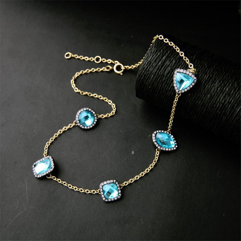 24k saudi gold jewelry Charms Jewelry Light Sea Blue Crystal Beads