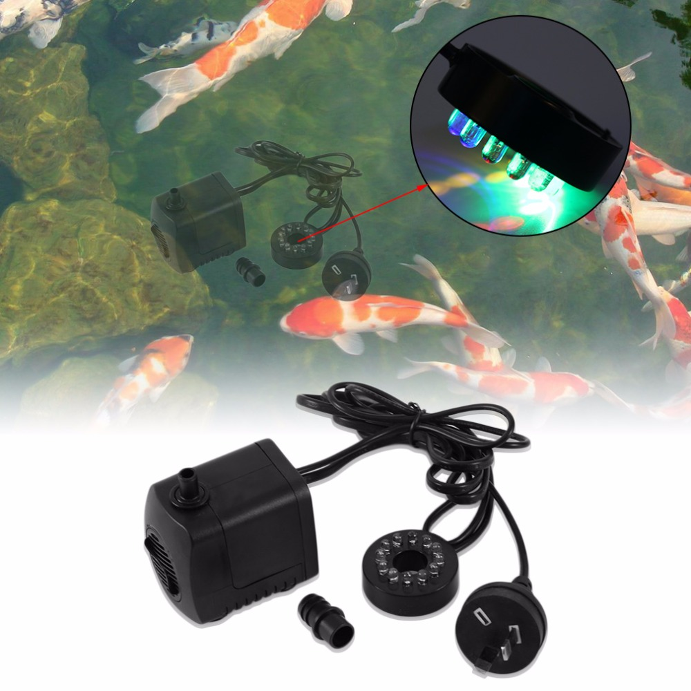 15W AC 220-240V 12 <font><b>LED</b></font> Submersible Water Pump For Aquarium Fountain Fish Tank Pond Decoration <font><b>Led</b></font> <font><b>Light</b></font> Water Pump EU/AU Plug