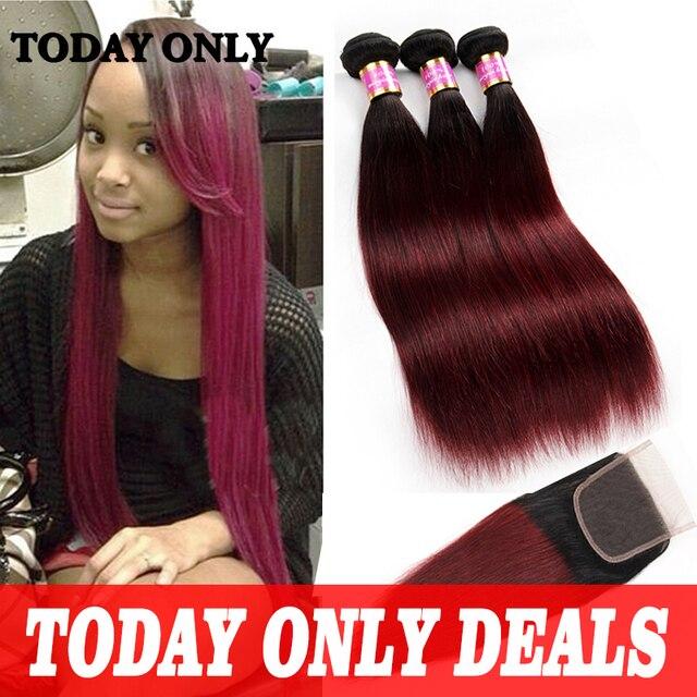 3 Bundles Peruvian Virgin Hair with Closure Peruvian Straight Hair with Closure 1b 99j Ombre Hair with Closure Burgundy Straight