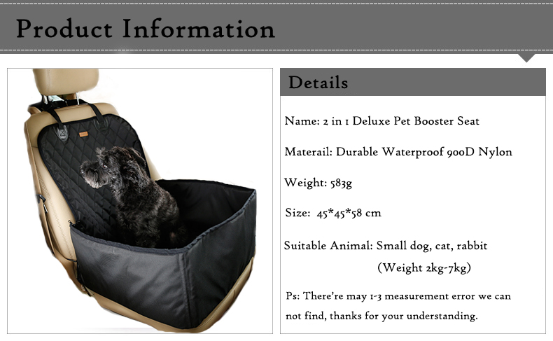 Deluxe Waterproof Washable Pet Carrier Car Travel Bag for Dog, Cat