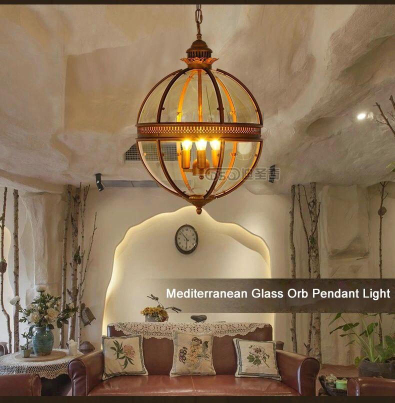 dsq mediterranean american rural glass orb pendant light in pendant