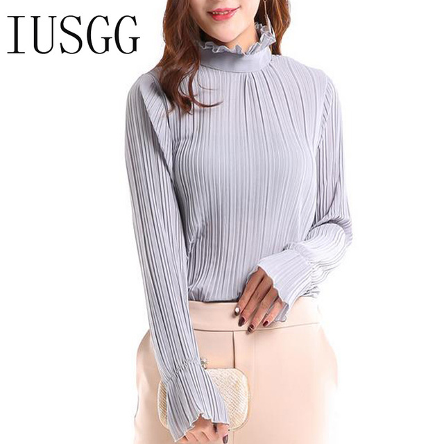 IUSGG Vintage Office Lady Chiffon Blouse Sweet Long Butterfly Sleeve High Collar Shirt Work Wear Silk One Piece Shirt Body Tops