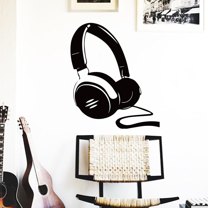 arte nuevo diseo de decoracin auricular headset msica etiqueta de la pared removible barato casa decor