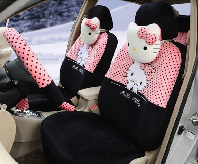 Hello Kitty 18PCS 043 Pink Black Fashion Car Seat Cover Set Steering Wheel