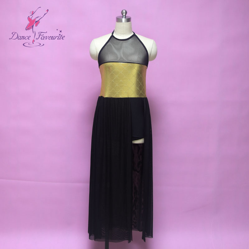 Dance Favourite gold spandex bodice long ballet dress, women & girl Lyrical contemporary dance costume, dance dress