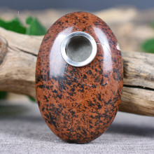 Natural red ochre oval crystal pipe