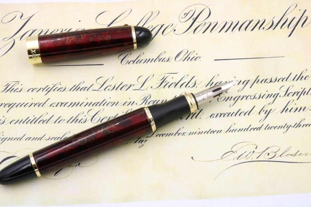 JINHAO X450 G NIB ivory white RED BLUE Round body English Dip in water  calligraphy copperplate Fountain Pen