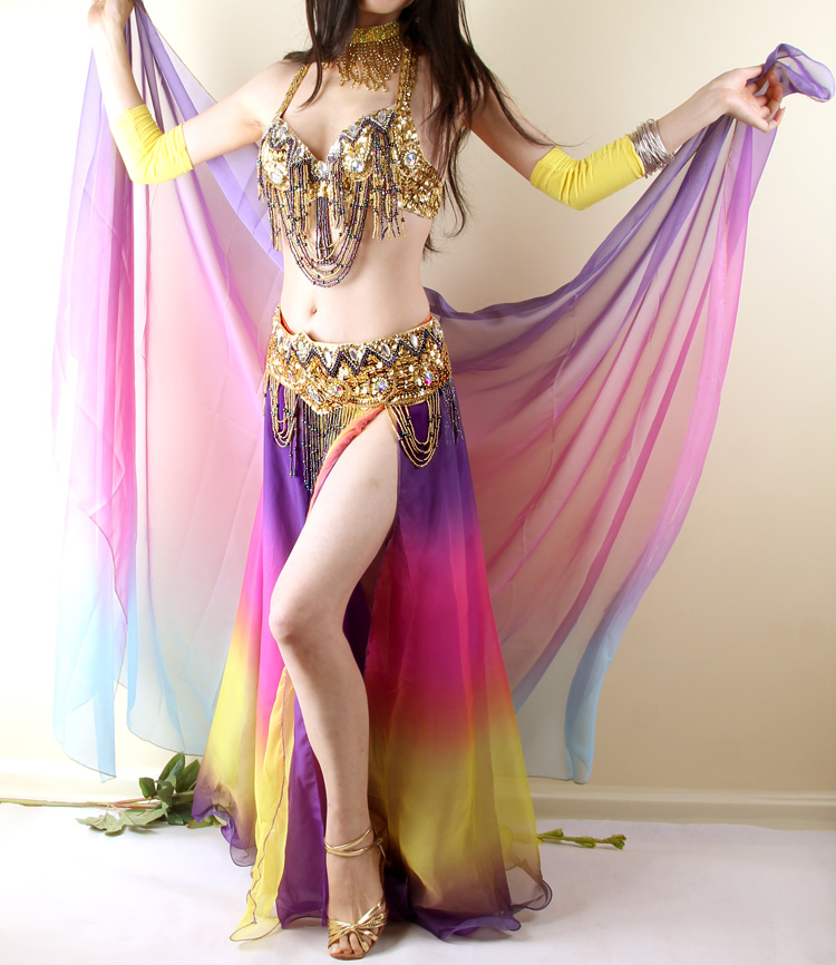 2017 New Bellydance 3 Pieces(bra +belt + Skirt) Gradient Belly Dance Costume Set Egypt B ...