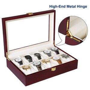 Image 3 - Luxus Holz Uhr Box Uhr Halter Box Für Uhren Männer Glas Top Schmuck Organizer Box 2 3 5 12 Grids uhr Veranstalter Neue D40