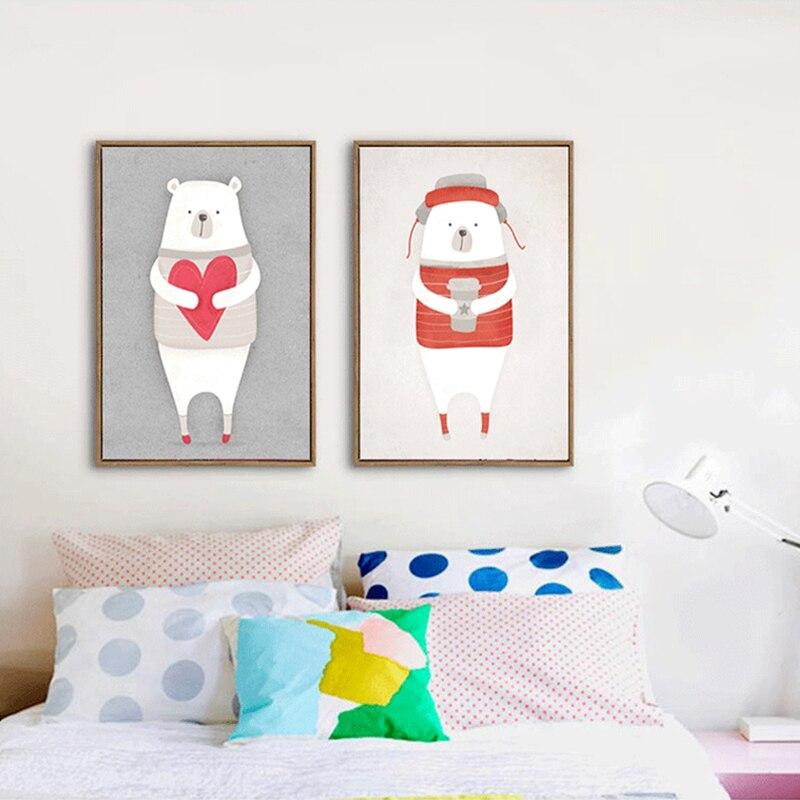 ᗔHAOCHU Nordic Wall Posters White Polar Bear Red Heart Cute Animal ...