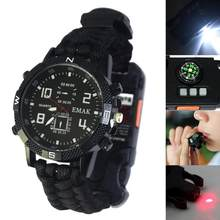 Survival EDC Women Camping Safety watch Multi-function Tools Flashlight Compass Whistle Rescue Rope Outdoor Watch for Men L0407(China)