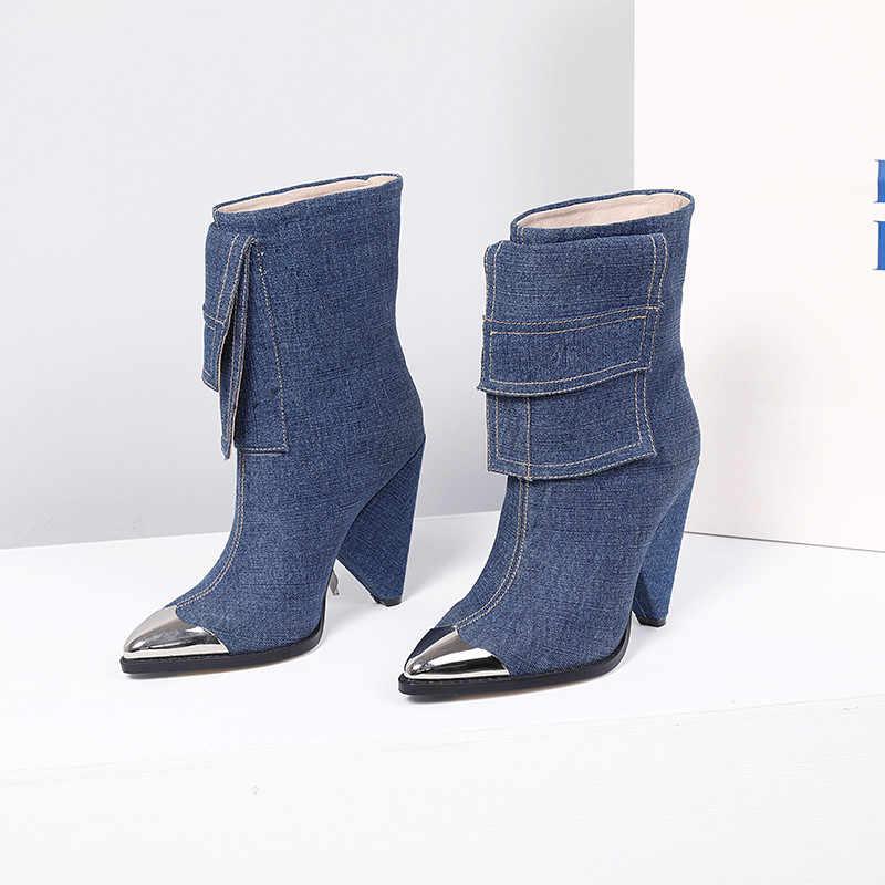 MORAZORA 2020 yeni moda yarım çizmeler kadınlar Metal sivri burun denim yüksek topuklu ayakkabılar vintage sonbahar kış Chelsea çizmeler kadın