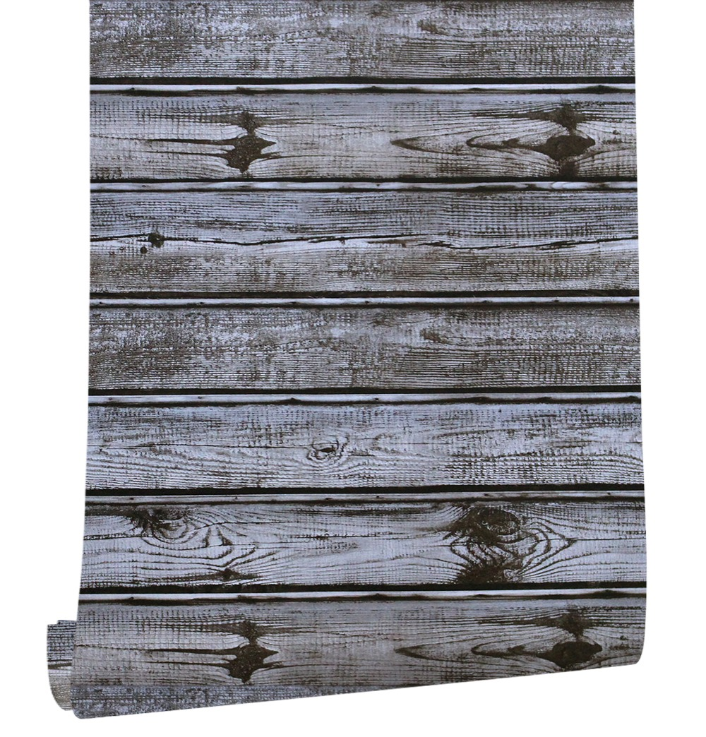 HaokHome Vintage Faux Wood Panel pvc self adhesive 3d Wallpaper Sticker Rolls Grey/Brown Bedroom Living room Wall Decoration
