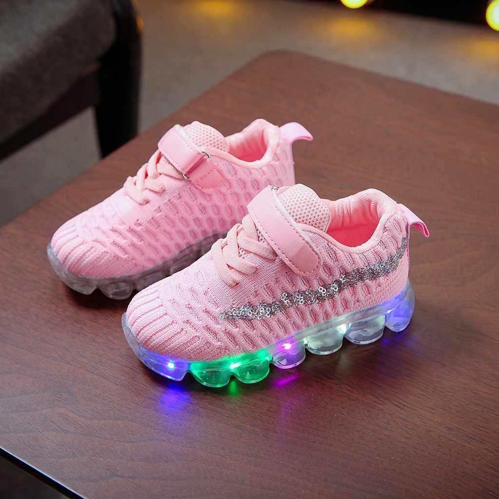 Çocuk ayakkabı bebek kız çocuklar için erkek spor ayakkabı Bling LED ayakkabı aydınlık spor koşu rahat pembe çocuk ayakkabıları Tenis Infantil