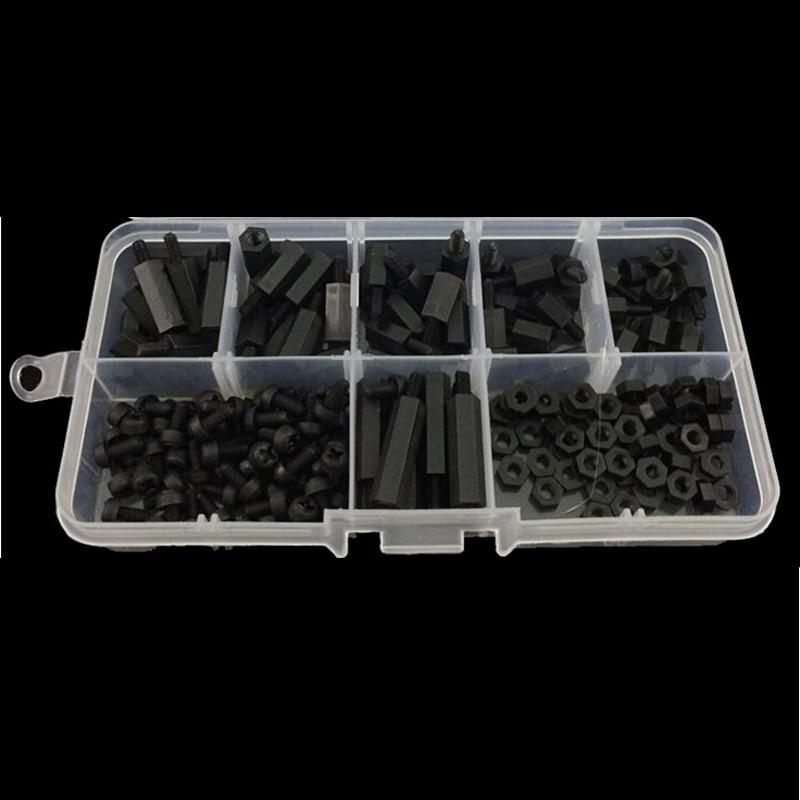 цена на 180Pcs Black Nylon M3 Hex Column Standoff Spacer Screw Nut Assortment Kit PCB