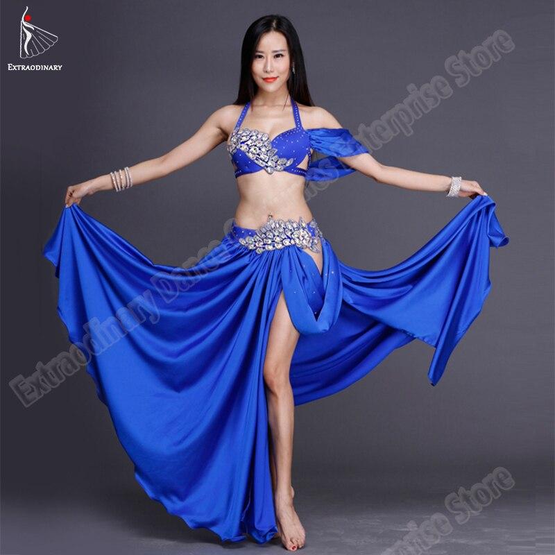 New Elegant Belly Dance Diamond Decoration Ballroom Dance Bra Skirt Sexy Oriental Costume Top Skirt 2pcs