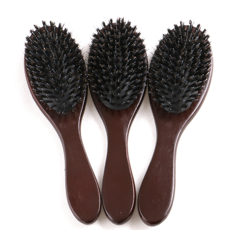 FREE Shipping 15 Pieces Dark Brown or Varnish Color wooden-handle bristle hair brush with plastic pin