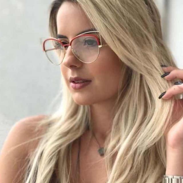 912515d0dd3 Pop Age 2018 High quality Sexy Fashion Glasses Cat Eye Shape Women  Spectacle Metal Celebrity Plain Glasses Eyeglasses Oculos