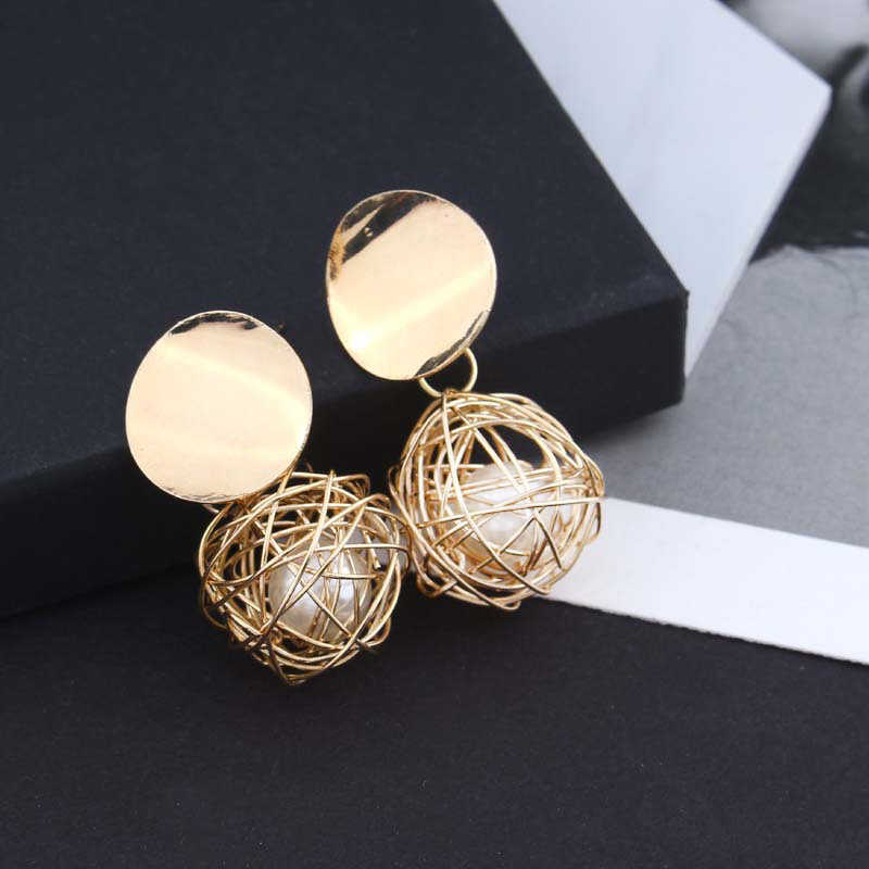 ceb61f90a Vintage Elegant Korean Jewelry Handmade Braid Ball Earrings Big Simulated  Pearl Earrings For Women Accessories Party