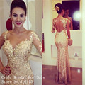 New Fashion One Long Sleeve Floor Length Champagne Gold Sequins Prom Dresses Sexy Nude Back Mermaid Evening Dress Formal Gowns