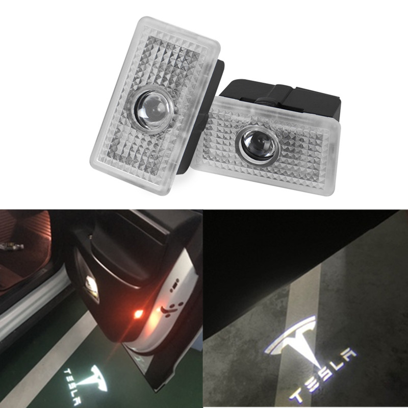 2X For Tesla MODEL 3 S X Led Car Door Welcome Laser Projector Logo Ghost Shadow Light