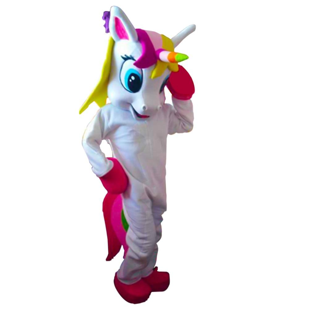 Licorne mascotte costume arc-en-ciel poney magique adulte mascotte Costume pour Halloween pourim fête vêtements fantaisie robe