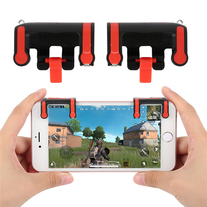 1pair MX Gaming Trigger Fire Button Aim Key Smart phone Mobile Games L1R1 Shooter Controller For PUBG/Rules of Survival/Knives O