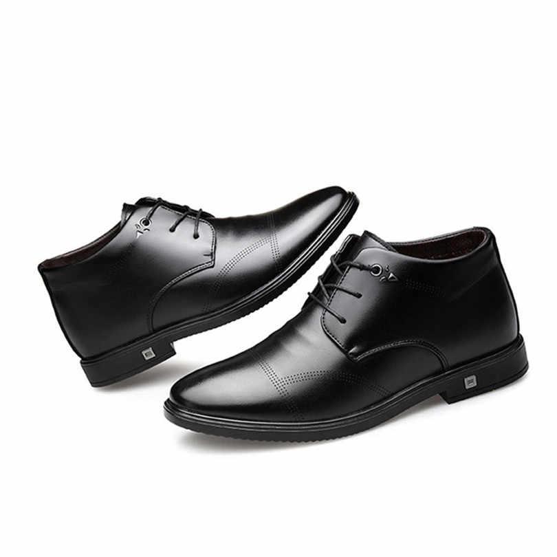 6d86021c52ff ... LIN KING Black High Top Men Winter Casual Shoes Warm Plush Dress Shoes  Business Office Formal ...