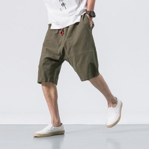Мужские мешковатые штаны, Мужские штаны-шаровары длиной до икры с эластичной резинкой на талии, армейские брюки, мужские повседневные штаны в стиле хип-хоп, большие шаровары - Цвет: army green
