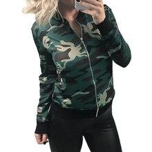 7db9a5099ca Women Army Camouflage Jackets Coats Casual Basic Jacket Spring Autumn Fashion  Coats Zipper Outwear Casual Streetwear WS1411V