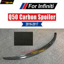 купить For Infiniti Q50 Q50S Spoiler Carbon Material Car Rear Glossy black Rear Spoiler Q50 Spoiler USA Style Tail Lid Lip Wing 2015-17 по цене 5208.54 рублей