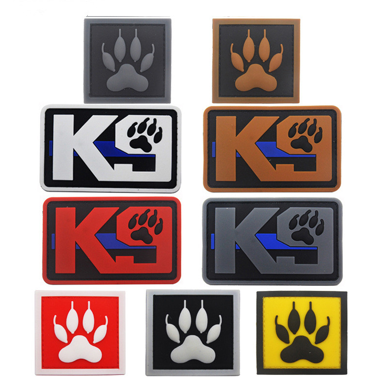 3D PVC K9 Patch DOG Military Morale Tactical Emblem Badges Hook Back Rubber Patches For Clothing Backpack Bags