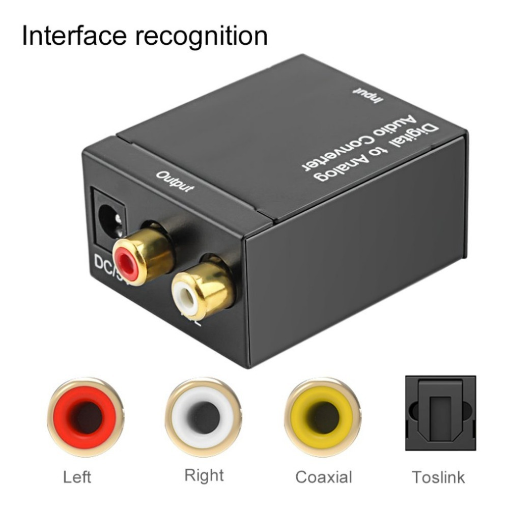 1 Sets Digital Optical Coaxial Toslink Signal To Analog Audio Converter Adapter RCA Digital To Analog Audio Converter Black