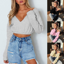 S-XL long sleeve deep v neck off shoulder tops blouse casual leisure streetwear autumn winter short tops blouse fashion women s ladies long sleeve off shoulder shirt ruffle loose casual blouse summer tops