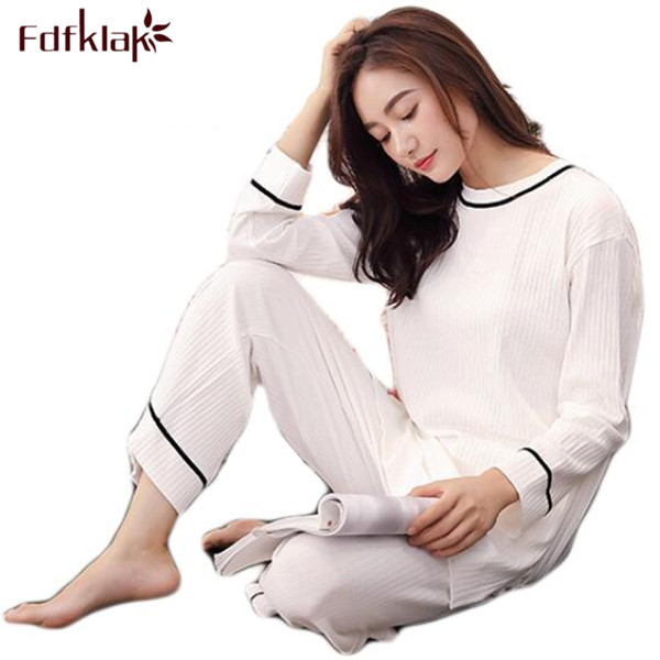 Fdfklak Womens Home Suits Spring Autumn Long Sleeve Pijama Woman Cotton Pyjama Femme Sleepwear Family Pajama Set Nightwear Q473